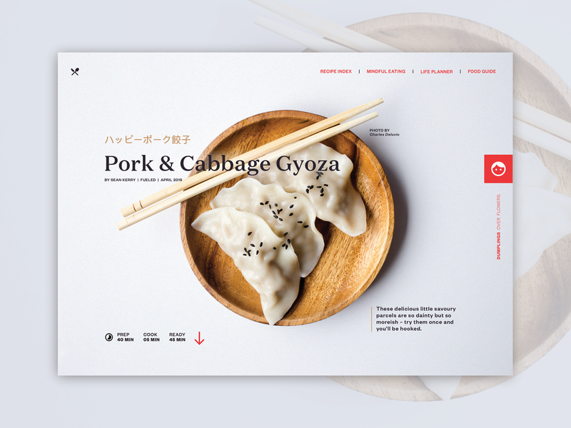 Gyoza Recipe Page blog website layout typography gyoza ux design recipe web  design japanese ux ui web