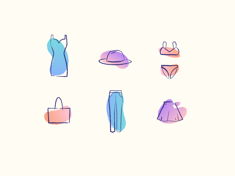 Fashion Icons fun blog brush minimal icon illustration sketch fashion