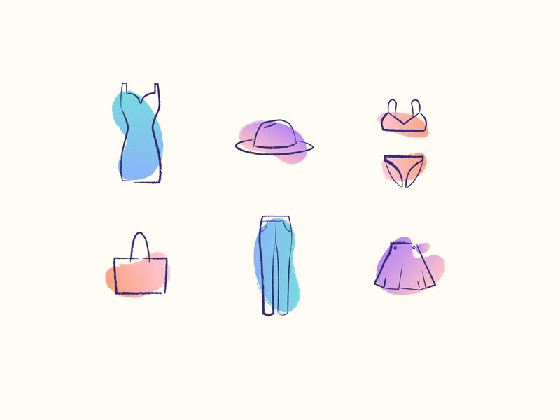 Fashion Icons fun blog brush minimal icon illustration sketch fashion