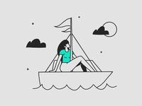 The Sailor illustrator simple procreate spot blog drawing line illustration