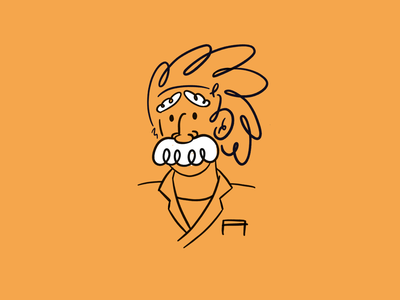 Albert Einstein loose simple line spot blog minimal illustration sketch procreate