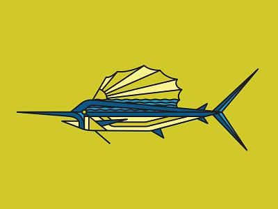 Sunfish monoline billfish illustration