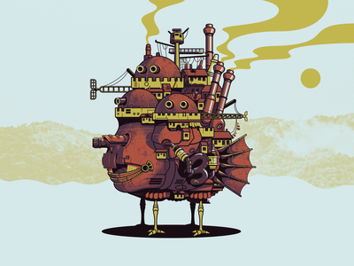 Howl's Moving Castle anime miyazaki ghibli castle howls moving castle poster vector illustration illustrator
