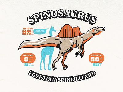 Spinosaurus Info Sheet Detail character fossil spinosaurus dinosaur emblem illustration illustrator logo vector
