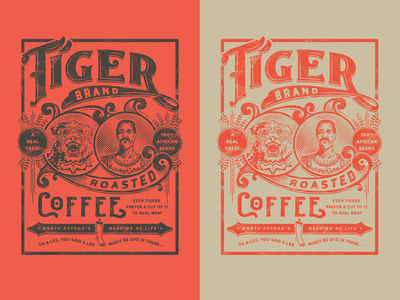 Tiger Brand Coffee tin can tiger lettering graphic design vector vintage monty python coffee typography