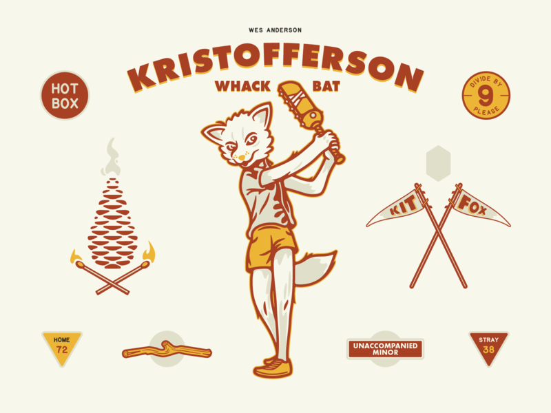 Kristofferson Whack-Bat pinecone whackbat fox kristofferson wes anderson poster typography illustration illustrator vector