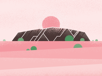 Uluru brush grain sunset australia uluru ayers rock poster illustrator vector
