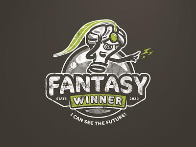 Fantasy Stats Winner Shirt halftone mind reader crystal ball mentalist lightbulb vintage shirt vector logo illustration
