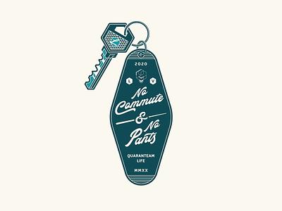 No Commute, No Pants pants isolation quarantine key emblem icon badge typography illustrator logo vector