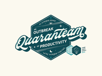 An outbreak... of productivity! remote work quarantine life isolation covid badge typography illustrator logo vector