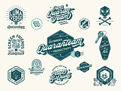 Quaranteam covid quarantine branding emblem icon badge typography illustrator logo vector