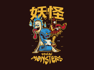 Yokai Monsters Shirt obake boroboroton chochin kasa typography futon lantern umbrella monster yokai tshirt illustration illustrator vector