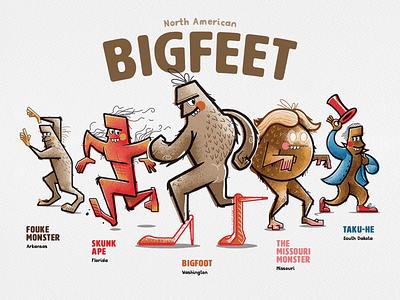 Bigfeet of North America halloween dribbbleweeklywarmup inktober inktober2020 skunkape taku-he momo vector monster cryptid bigfoot illustrator illustration