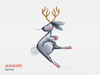 The Jackalope antlers bunny folklore myth texture cryptid jackalope rabbit vector illustrator