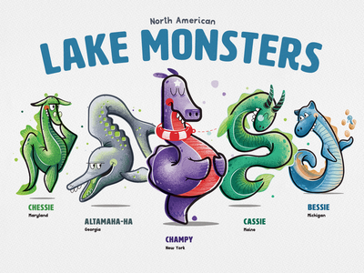 Lake Monsters of North America cassie bessie champy nessie monster cryptid poster illustration illustrator vector