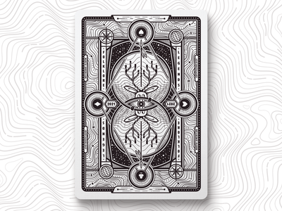 Cryptid Card Back playing arts poker symmetry cryptid topography card playing card illustration illustrator vector