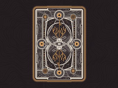Cryptid Tuck Box Back vector illustrator illustration playing cards card typography cryptid symmetry poker playing card