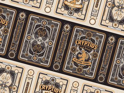 Tuckbox Spread packaging cryptid typography branding illustrator vector tuckbox cards poker deck poker