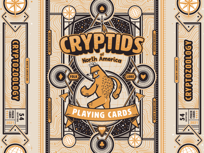 Cryptid Poker Cards Tuckbox cryptids character poker tuckbox typography illustrator vector packaging cryptid