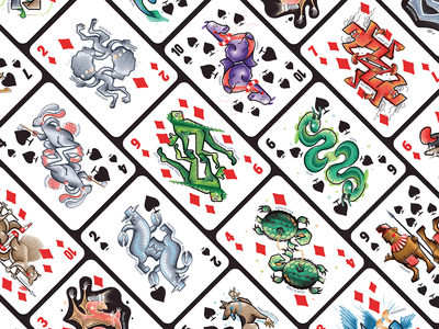 Cryptid Cards diamond spade monster playing card deck illustrator vector cryptids poker
