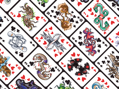 Illustrated Cryptid Card Deck poker cards folklore illustrator vector cryptids monster clubs hearts