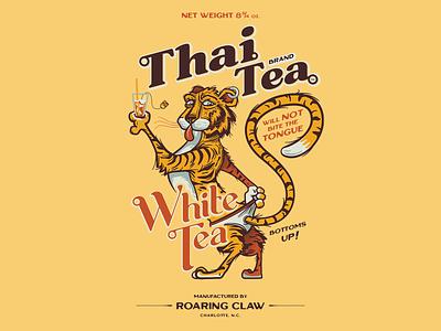 Thai Tea White Tea vintage typography tiger underwear branding illustration vector thai