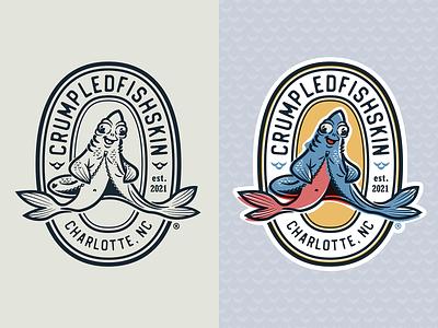 Crumpledfishskin branding emblem badge logo vector typography illustraion fish logo product design fish
