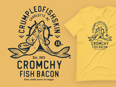 Crumpledfishskin Cromchy Fish Bacon illustration salmon bacon product design typography vector logo tshirt design emblem branding