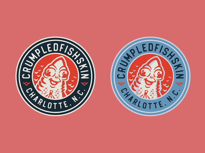 Crumpledfishskin Badge illustrator vector typography mark fish logo badge emblem branding