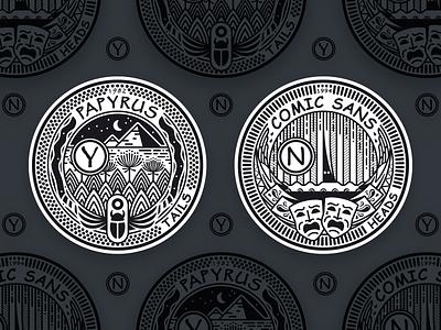 Papyrus Comic Sans Coin coin font papyrus comic sans badge typography illustration logo vector