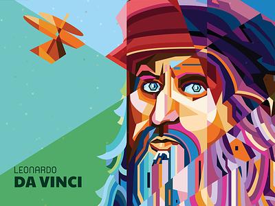 Leonardo Da Vinci renaissance illustrator portrait inventor vector poster pop art wpap leonardo da vinci