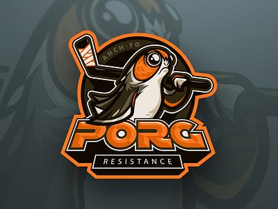Porg Resistance penguin esports vector logo mascot star wars porg hockey