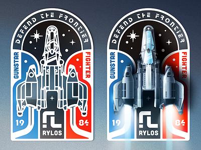 Last Starfighter Badge illustrator vector emblem badge starship spaceship last starfighter gunstar 80s