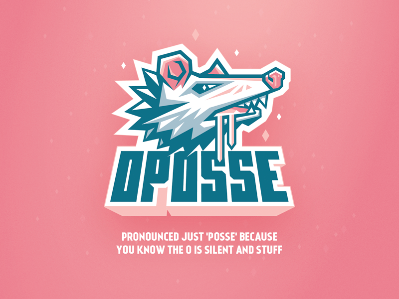 Oposse pink illustration posse opossum character esports logo mascot