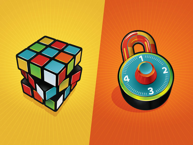 Rubik's Padlock design padlock isometric 3d primary colors poster rubik lock illustration illustrator vector