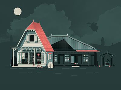 My Neighbor Totoro architecture house soot sprite illustrator illustration vector ghibli my neighbor totoro totoro