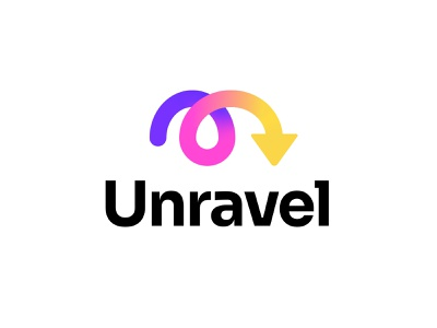 Unravel gradient logo colorful symbol line path icon graphic inpetor chaotic mess brainstorming chaos branding logotype arrow m logo letter logo logo concepts unraveling unravel