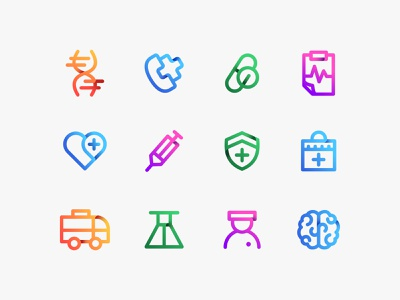 Medical & Health Icons medical logo medical health healthcare medicine doctor app clinic iconset icon design icon designer inpetor ui iconography first aid kit icon pack colorful icons icon logo graphic design futuristic branding