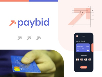 Paybid - online payment logo identity arrow visual identity digital wallet paypal fintech bank payment method logo logo identity cashless payment shopping debit card credit card bills invoice business identity logotype app design ui payment logo pay logo online payment