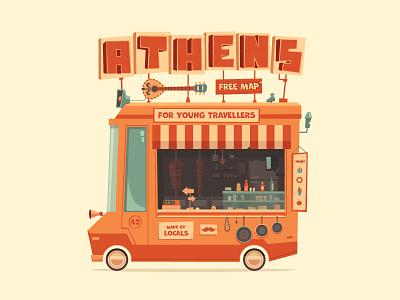 Athens Urban Wagon urban pita souvlaki greece athens car wagon truck food junk flat illustration