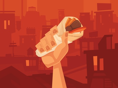 Viva Souvlaki! souvlaki revolution punch pita kebab illustration hand greece food flat city cartoon
