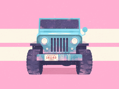 Paintball Willy Jeep model wild retro texture illustration flat car vehicle jeep