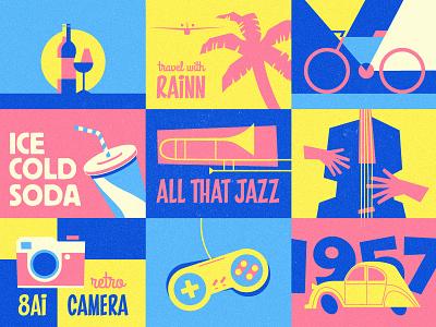 Retro Designs camera instrument jazz bottle illustration flat car nintendo console poster vintage retro