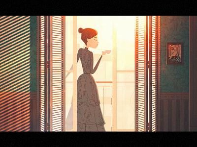 Le Goûter light illustration old dress tea cup tea door window home afternoon balcony woman lady