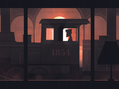 The train always rolls the same... track illustration dark retro vintage lady railway animation sunrise smoke woman old station train
