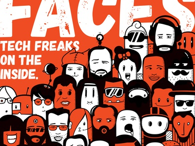 Isobar's Future Faces diversity diverse people colleagues team funny doodling animation vector flat orange illustration doodle