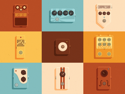 Knobheads music effects colors pedals knob guitar vector vintage retro illustration flat