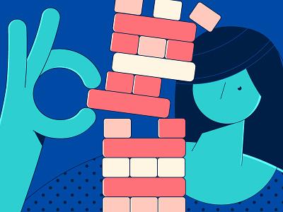 It'sJenga time! color funny balance boardgame game illustration vector flat girl woman jenga