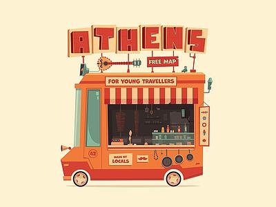 Athens Urban Wagon vector illustration street junk wagon urban truck van food flat vehicle car athens