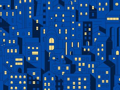 City Mess lights night new york skyscraper buildings doodle illustration vector flat blocks city